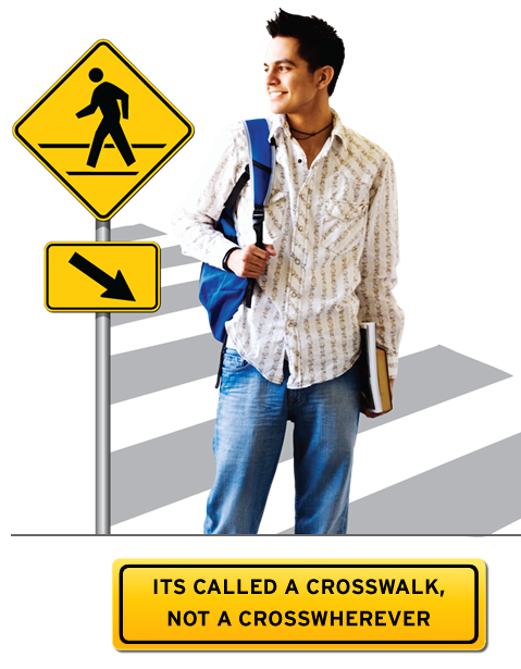 """It's Called a Crosswalk, not a Crosswherever"" message"